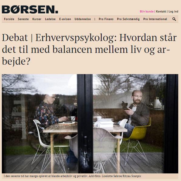 Tine Toft i Børsen - artikel om work-life balance